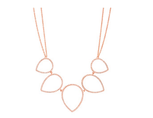 ROSE OPEN PEAR SHAPE PNG SET NECKLACE - Cabochon Fine Jewelry