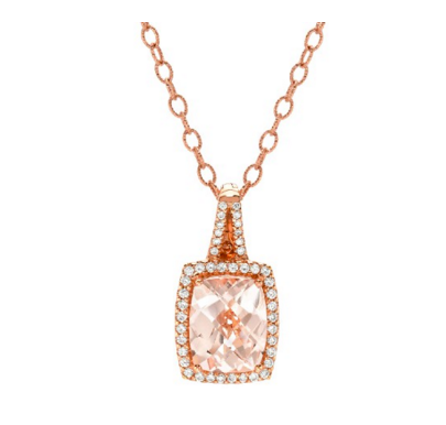 ROSE GOLD MORGANITE PENDANT - Cabochon Fine Jewelry