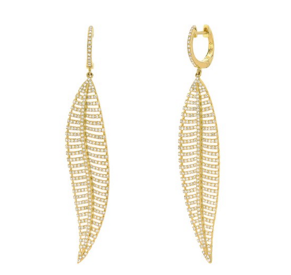 GOLD FEATHER DIAMOND EARRINGS - Cabochon Fine Jewelry
