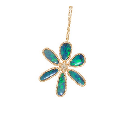 GOLD OPAL FLOWER NECKLACE - Cabochon Fine Jewelry