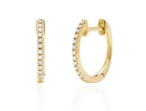 HALFWAY DIAMOND HOOP GOLD EARRINGS - Cabochon Fine Jewelry