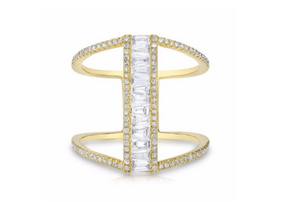 COCKTAIL BAGUETTE DIAMOND H RING - Cabochon Fine Jewelry
