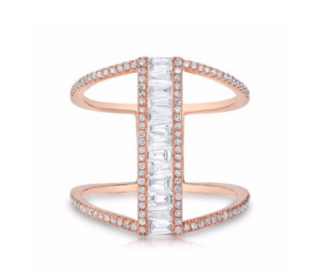 ROSE GOLD BAGUETTE DIAMOND H RING - Cabochon Fine Jewelry