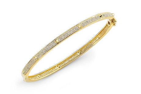 GOLD PAVE CONE STATION BANGLE - Cabochon Fine Jewelry