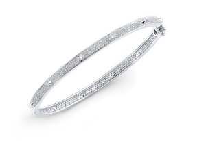 14KT PAVE CONE STATION BANGLE