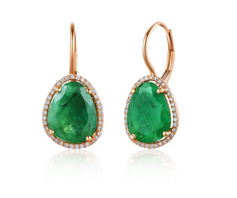 ORGANIC ROSE EMERALD EUROWIRE EARRINGS - Cabochon Fine Jewelry