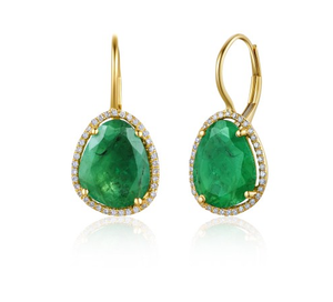 ORGANIC GOLD EMERALD EUROWIRE EARRINGS - Cabochon Fine Jewelry