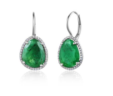 ORGANIC 14KT EMERALD EUROWIRE EARRINGS - Cabochon Fine Jewelry