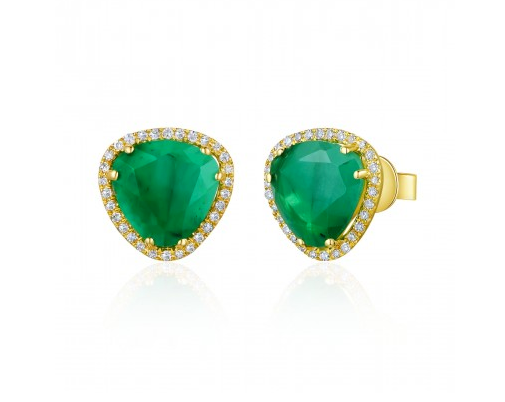 GOLD EMERALD SLICE EARRINGS - Cabochon Fine Jewelry