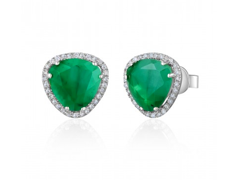 14KT EMERALD SLICE EARRINGS - Cabochon Fine Jewelry