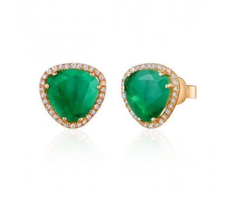 ROSE EMERALD SLICE EARRINGS - Cabochon Fine Jewelry