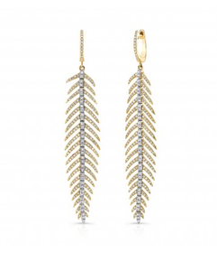 GOLD DANCING FEATHER EARRINGS - Cabochon Fine Jewelry
