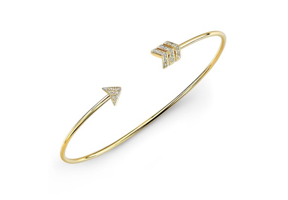 GOLD ARROW CUFF BANGLE - Cabochon Fine Jewelry