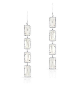 14KT MOTHER OF PEARL DIAMOND RECTANGLE DROPS EARRINGS - Cabochon Fine Jewelry