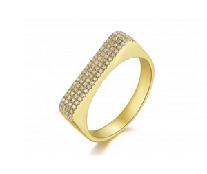 GOLD WIDE PAVE BAR RING - Cabochon Fine Jewelry