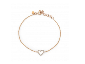 ROSE OPEN HEART CHAIN BRACELET - Cabochon Fine Jewelry
