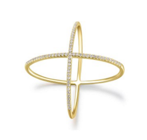 GOLD DIAMOND X RING - Cabochon Fine Jewelry