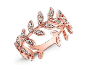 ROSE DIAMOND LEAF RING - Cabochon Fine Jewelry