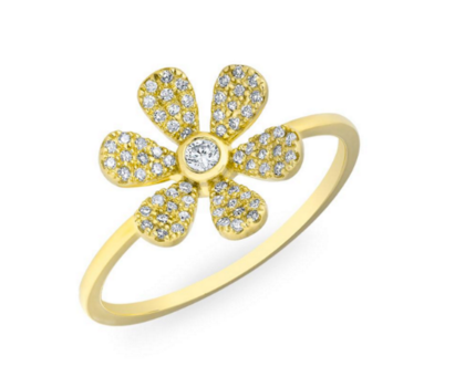 GOLD DIAMOND SINGLE FLOWER RING - Cabochon Fine Jewelry