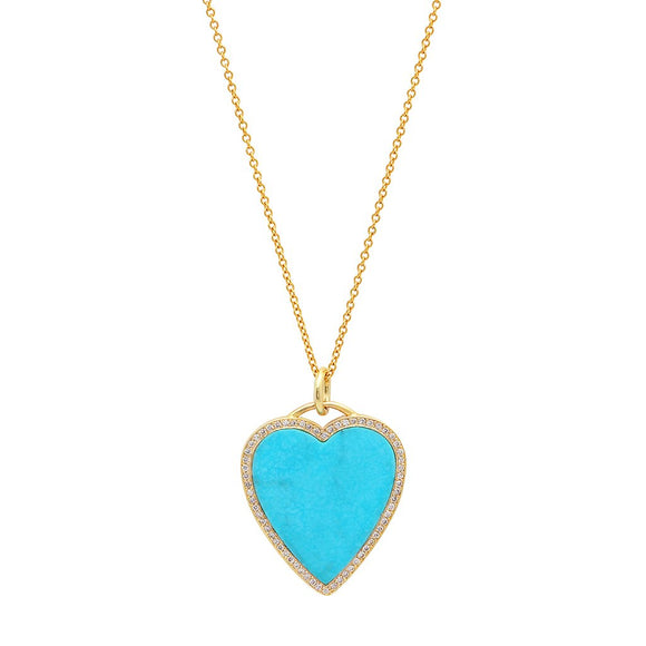 14 KT Gold Diamond Turquoise Inlay Heart Pendant Necklace