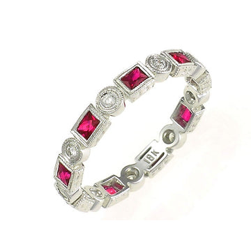 ART DECO STYLE  SQUARE RUBY DIAMONDS STACKABLE BAND - Cabochon Fine Jewelry
