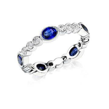 OVAL SAPPHIRE DIAMOND STACKABLE BAND - Cabochon Fine Jewelry