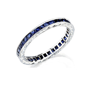 18KT CHANNEL SET SAPPHIRE ETERNITY BAND - Cabochon Fine Jewelry