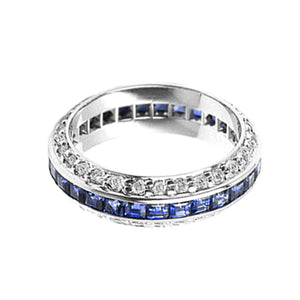 CHANNEL SET SAPPHIRE BAND WITH DIAMOND PAVE EDGES - Cabochon Fine Jewelry