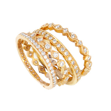 DIFFERENT SHAPE GOLD DIAMOND STACKABLE WEDDING BANDS - Cabochon Fine Jewelry