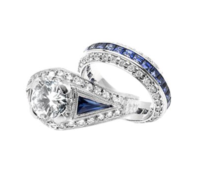 Blue Vintage Inspired Platinum Diamond Engagement Ring - Cabochon Fine Jewelry