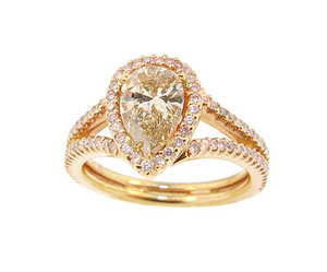 Gold Tear Drop Micro Pave Engagement Ring - Cabochon Fine Jewelry