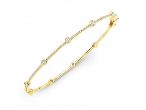14K YELLOW GOLD BEZEL AND BARS BRACELET - Cabochon Fine Jewelry