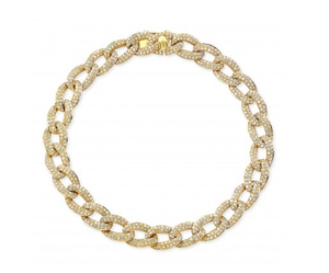 14K YELLOW GOLD PAVE CHAIN LINK BRACELET - Cabochon Fine Jewelry