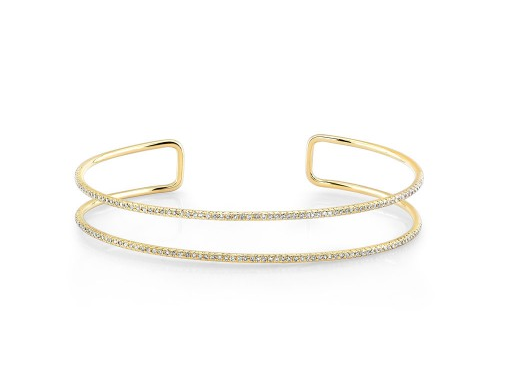 14K YELLOW GOLD DOUBLE ROW CUFF BANGLE - Cabochon Fine Jewelry