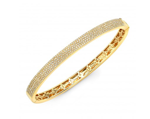 14K YELLOW GOLD FLAT PAVE BANGLE - Cabochon Fine Jewelry