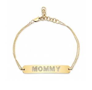 14K YELLOW GOLD MOMMY BRACELET - Cabochon Fine Jewelry