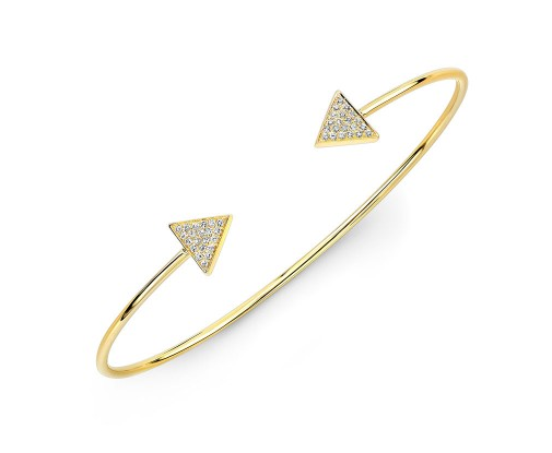 14K YELLOW GOLD PAVE TRIANGLE CUFF BANGLE - Cabochon Fine Jewelry
