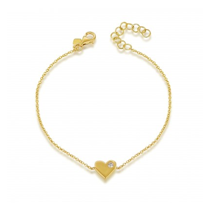 14K YELLOW GOLD SOLID HEART BRACELET - Cabochon Fine Jewelry