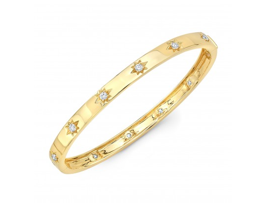 14K YELLOW GOLD STAR BANGLE - Cabochon Fine Jewelry