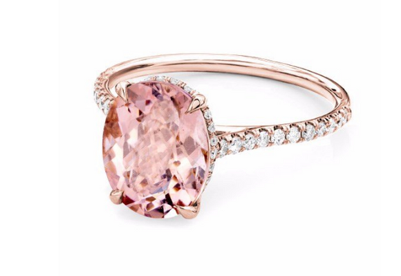 Oval Shape Morganite Engagement Ring - Cabochon Fine Jewelry