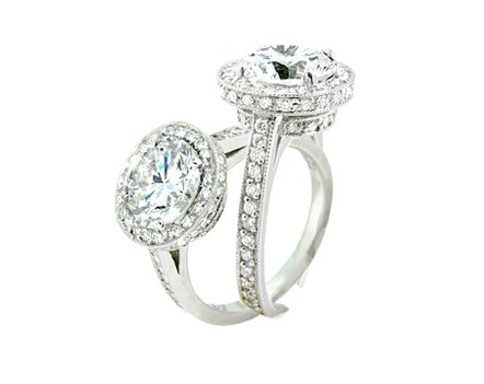 Pave Diamond Halo and Gallery Engagement Ring - Cabochon Fine Jewelry