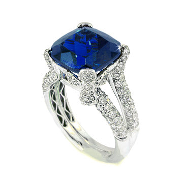 CUSHION CUT SAPPHIRE DIAMOND FLORAL ENGAGEMENT RING - Cabochon Fine Jewelry