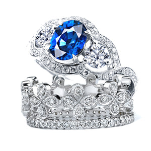 18KT DIAMOND AND SAPPHIRE WEDDING RING - Cabochon Fine Jewelry