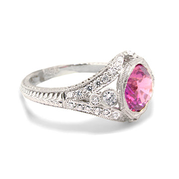 PINK SAPPHIRE ART DECO STYLE DIAMOND RING - Cabochon Fine Jewelry