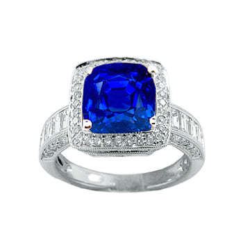 SAPPHIRE DIAMOND RING WITH CHANEL SET BAGUETTE BAND - Cabochon Fine Jewelry