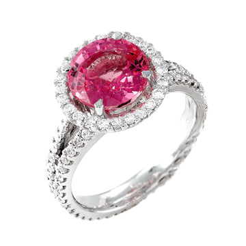 ROUND PINK SAPPHIRE SPLIT DIAMOND SHANK ENGAGEMENT RING - Cabochon Fine Jewelry