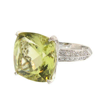 CHATELAINE WITH LEMON CITRINE AND DIAMONDS RING - Cabochon Fine Jewelry