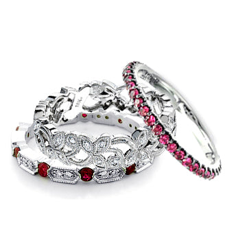 DIFFERENT STYLE RUBY ETERNITY WEDDING BANDS - Cabochon Fine Jewelry