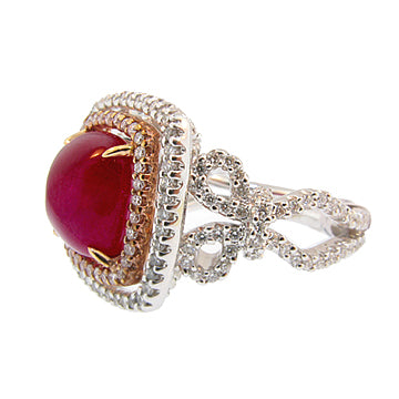 CABOCHON RUBY AND DIAMOND TWO TONE RING - Cabochon Fine Jewelry