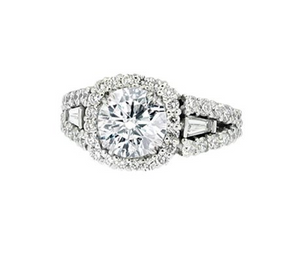 PRONG SET HALO DIAMOND WITH A SPLIT SHANK RING